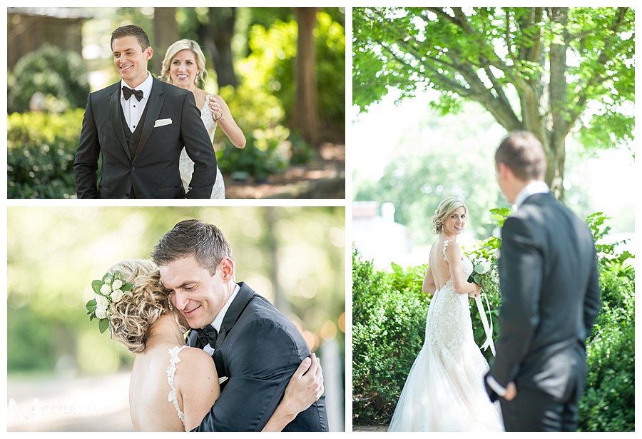 The groom's first look at his beautiful bride under a canopy of trees
